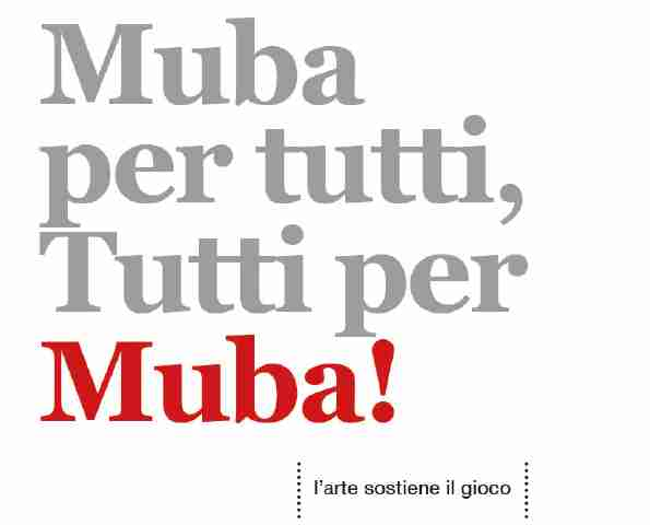 7 novembre 2019 – Muba per tutti, tutti per Muba | AstaMuba